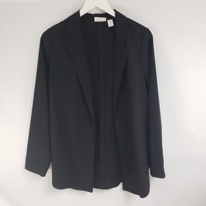 Chico's Black Open Front Rounded Hem Blazer